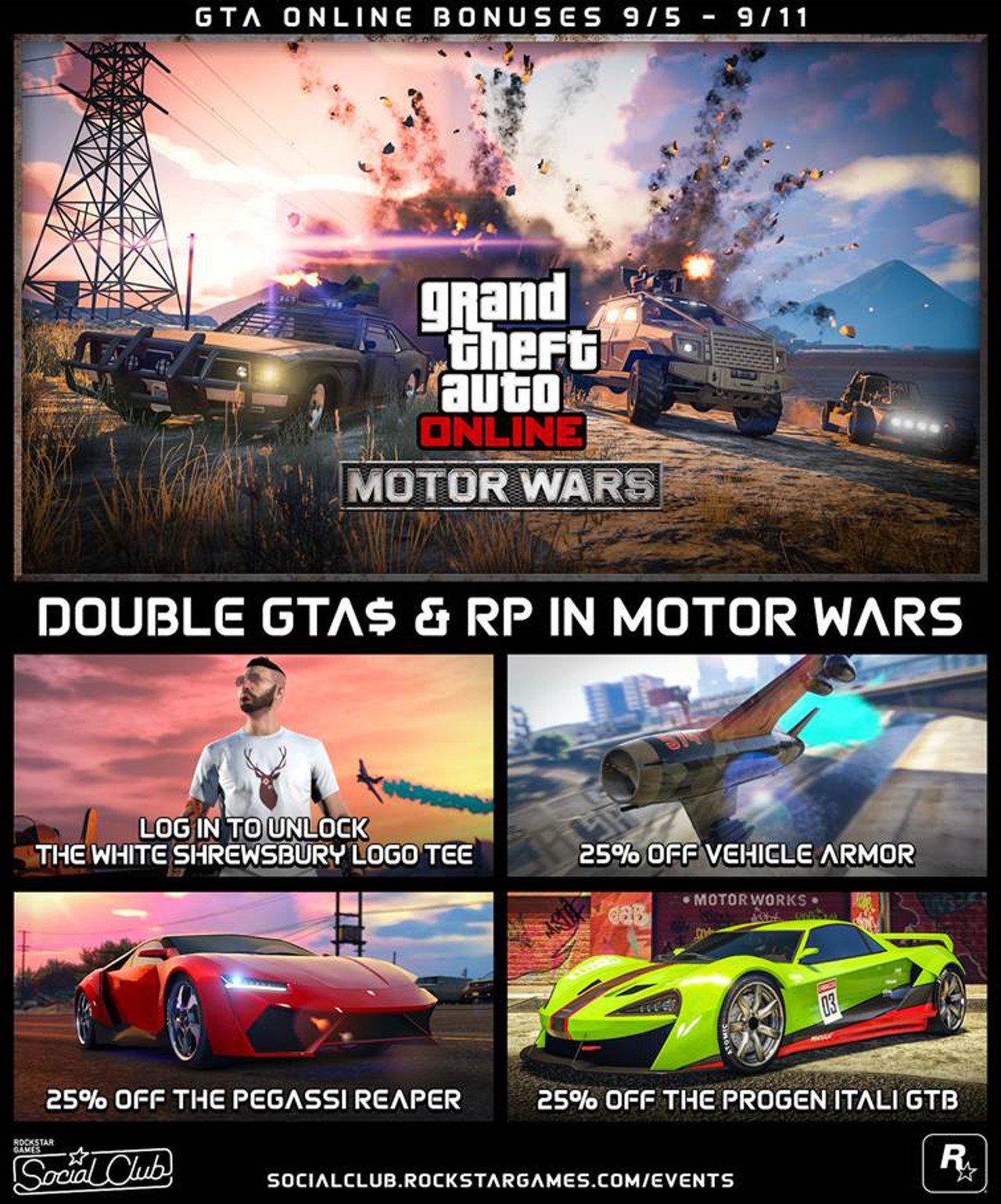 GTA Online: da oggi potrete guadagnare GTA$ e RP doppi in Guerriglia Motorizzata