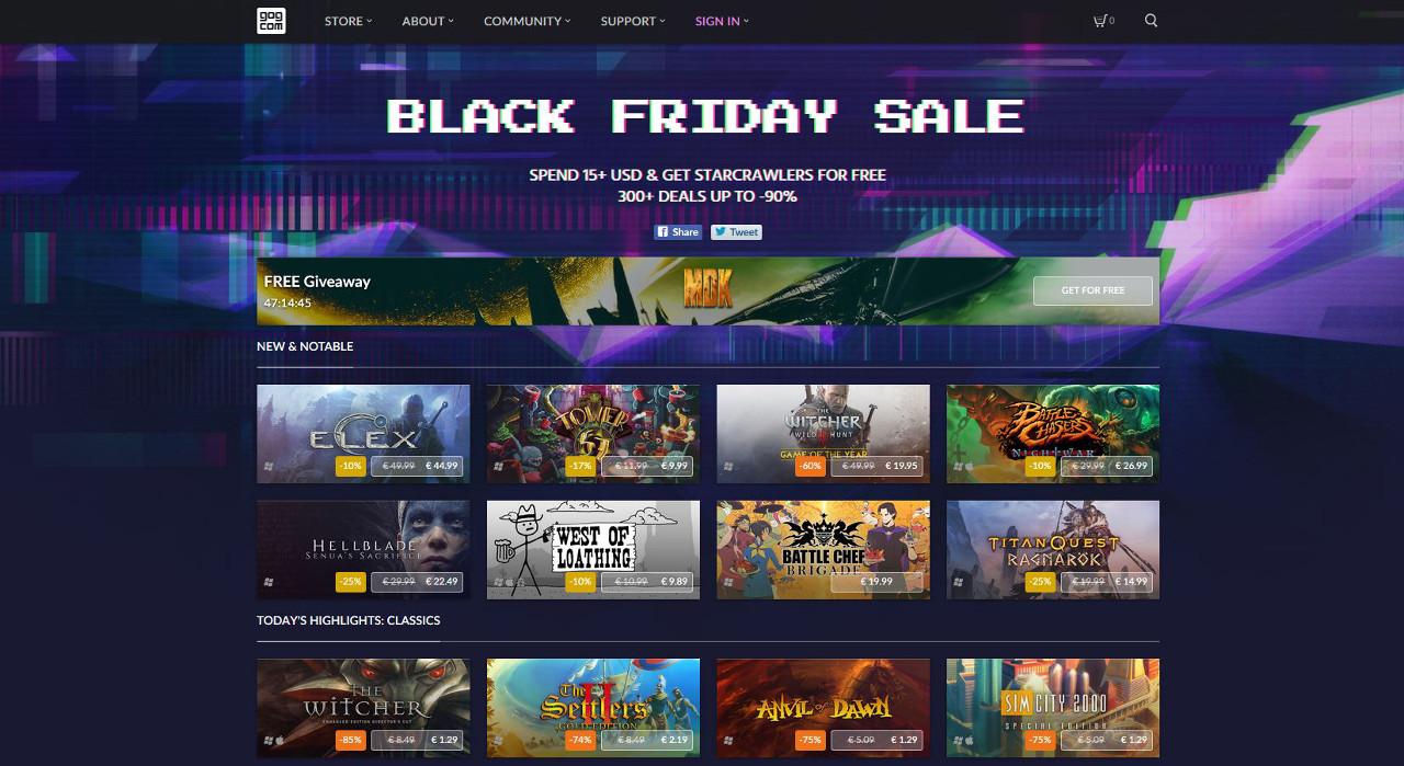 GOG.com regala MDK, oltre 300 giochi in sconto per il Black Friday