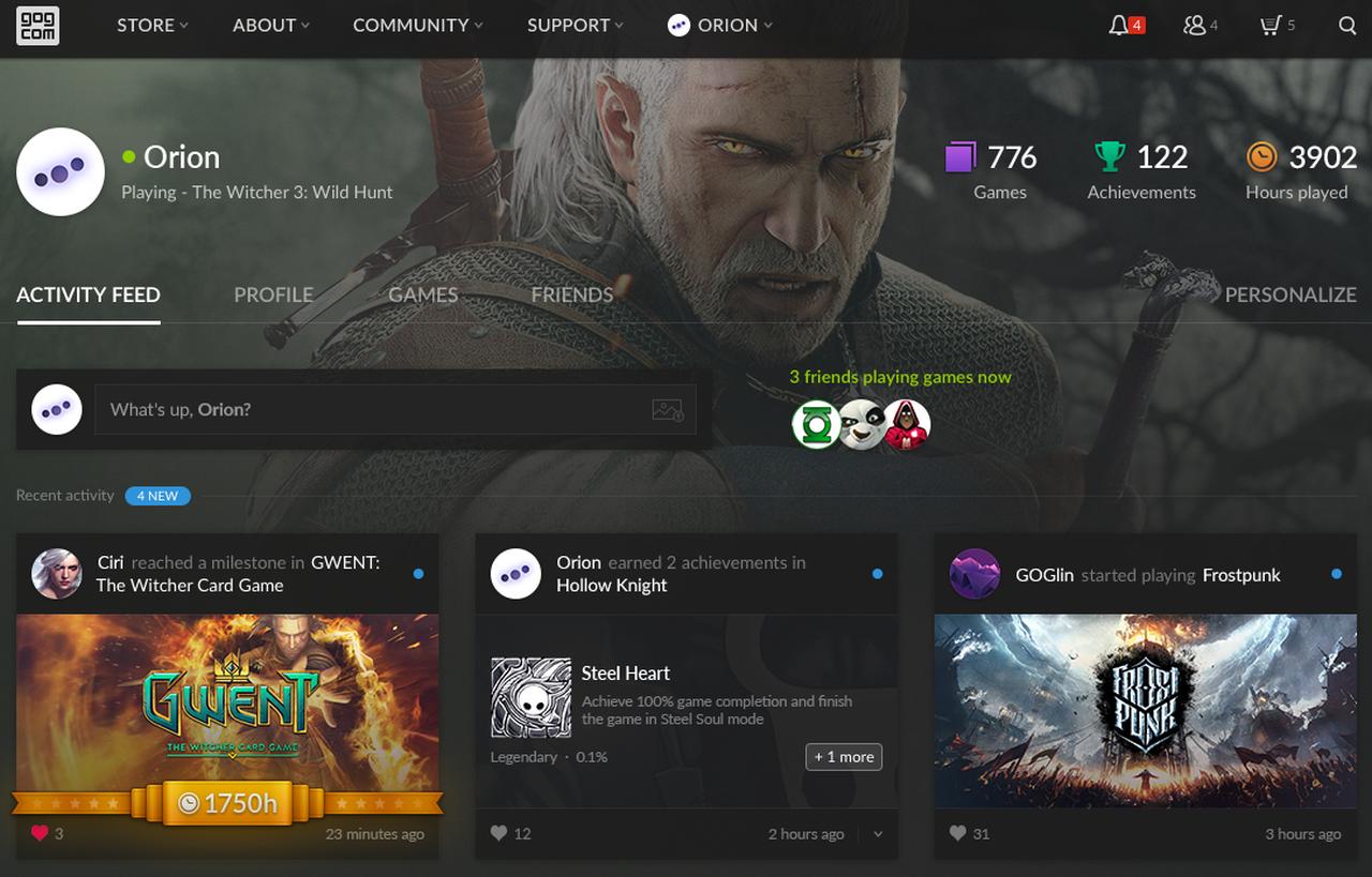 GOG.com introduce i profili utente, nuovi sconti fino all'80%