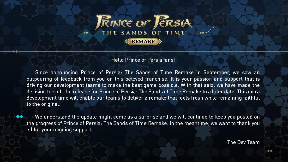 prince of persia rinviato