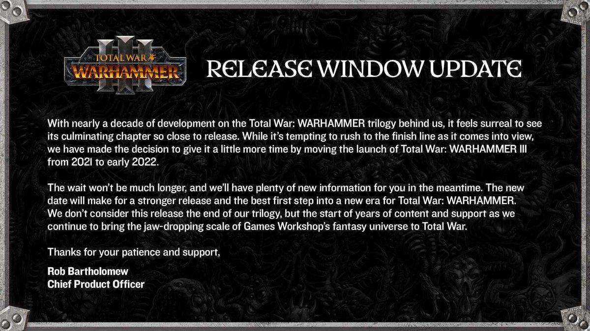 total war warhammer 3 rinviato